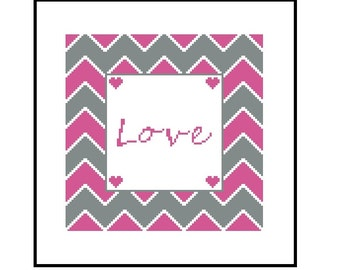 Love Cross Stitch Pattern for Beginner - Instant Download PDF,