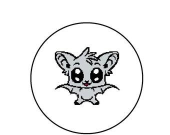 Counted Cross Stitch Pattern - Cute Kawaii Bat, Easy to Stitch Beginner Pattern