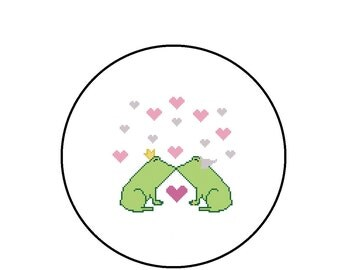 Counted Cross Stitch Pattern, Kissing Frogs and Hearts Cross-Stitch Pattern PDF