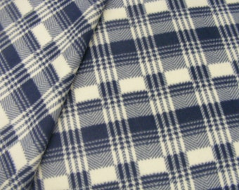 Plaid fleece in blue by the yard