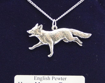 Running Fox Necklace in Fine English Pewter, Hand Made, Gift Boxed