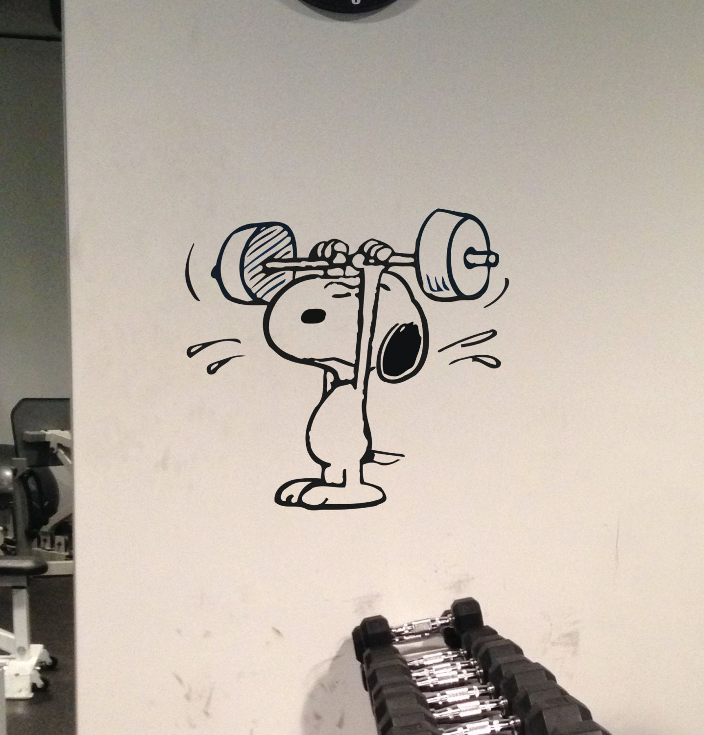 custom order for jessica gym wall decal snoopy weight