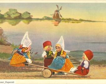 Vintage Postcard Dutch Toy Dolls (circa 1900) - Digital Download