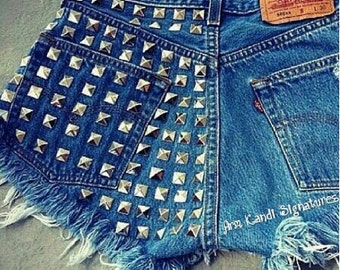 High Waisted Studded Denim Shorts/ Plus Size Available!
