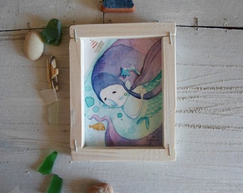 original illustration and handmade wood frame