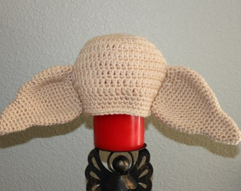 Crochet Dobby the house elf hat.  Harry Potter character hat.  Baby/Infant-adult sized elf hat. Handmade photo prop