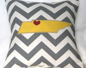 Tennessee Pillow Cover with Heart - Custom Colors