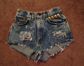 "high waisted denim shorts vintage Levi STUDDED 24"" waist"