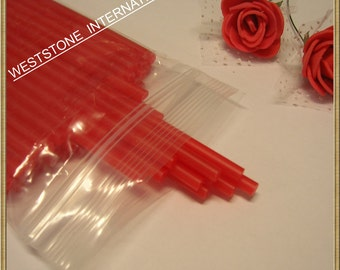 "50pcs 6"" x 5/32"" Plastic  Lollipop Sticks for Cake Pops - Red"