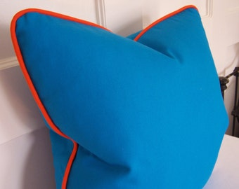 Pick Your Piping , Turquoise Pillow Cover with Orange Piping, 18x18, 20x20, and Lumbar sizes, Designer Pillow, Decorative Pillow, Accent