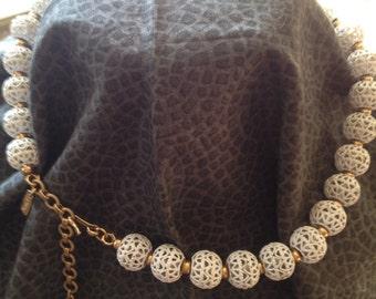 Vintage Signed Monet White Necklace