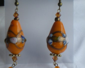 Lampworked glass and swarovski crystal earrings