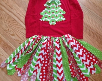 Christmas Holiday Chevron tree scrappy tutu fabric set Made to order in your size