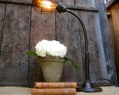 Industrial Desk Lamp - Repurposed Trouble Light Cage Edison Bulb