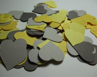 "Heart Confetti ~ 200 1"" Yellow & Grey Heart Die Cuts ~ Baby Shower, Wedding, Valentines Day, Bridal Shower, Party Decorations,Engagement"