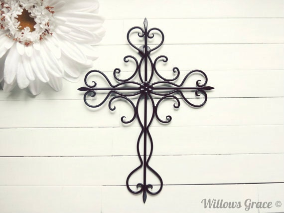 Items similar to black ornate metal cross wall art black home decor cross decor cross wall Home decor wall crosses