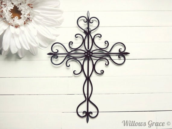 Items similar to black ornate metal cross wall art black for Cross decorations for home