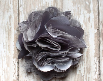 "Set of TWO - 3"" Satin Mesh Flower - DARK GRAY - Satin Tulle - Tulle Flower - Satin Flower - Fluffy Flower - Tulle Mesh"