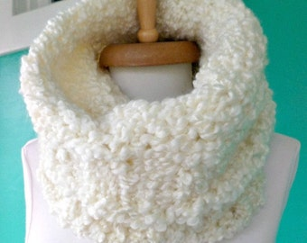 chunky knit cowl ivory knit infinity scarf textured knit scarf