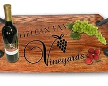 Bistro Tray -Custom Vineyard   Design  Made from Recycled Wine and Whiskey Barrels.