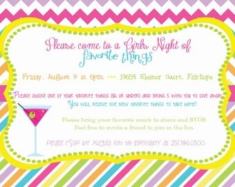 Bright Stripe and Chevron Favorite Things Party Invitation