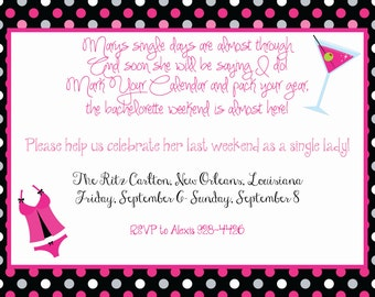 Martinis and Lingerie Shower or Bachelorette Party Invitation