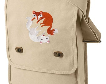 Infinite Foxes Embroidered Canvas Field Bag