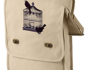 Black Bird Cage Embroidered Canvas Field Bag