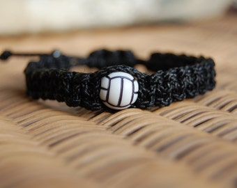 Black Trendy Volleyball Bracelet (more color and bead theme options available)