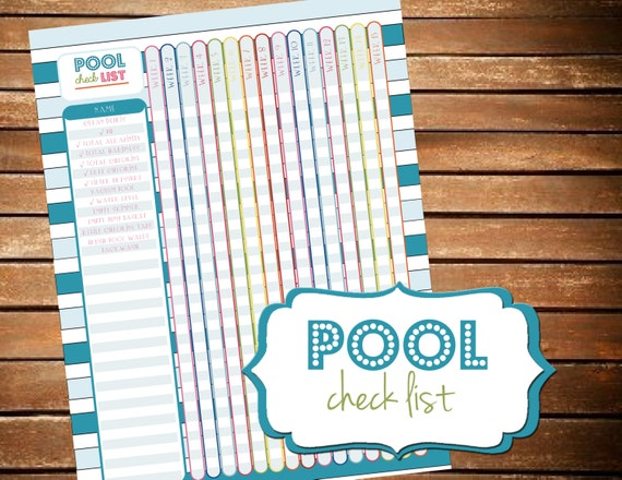 Pool Cleaning Checklist Pool Planner Printable Planner