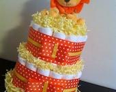 2 Tier Lion Diaper Cake, Gender Neutral Baby Shower, Orange, Yellow, Baby Shower Centerpiece, Lion Baby Shower