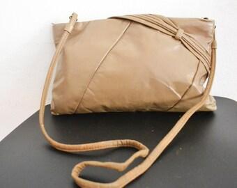 Free Ship Tan genuine Leather Purse Clean Shoulder Bag converable Clutch
