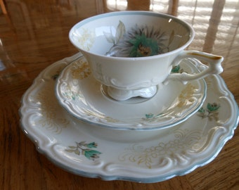 Vintage German  Porcelain Cup, Saucer, Dessert Scalloped with Blue Flowers