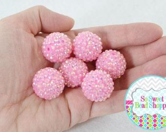 22mm Resin Rhinestone Beads, 6ct, Light Pink, AB, Aurora Borealis, Round