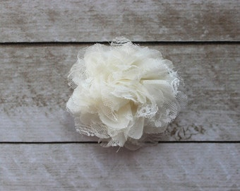 3.75 inch Chiffon Lace Flower in Ivory - Flower Head for Headbands and DIY Hair Accessories