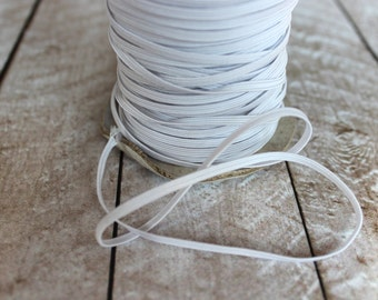 White Skinny Elastic 1/8 inch - Elastic For Baby Headbands - 5 Yards