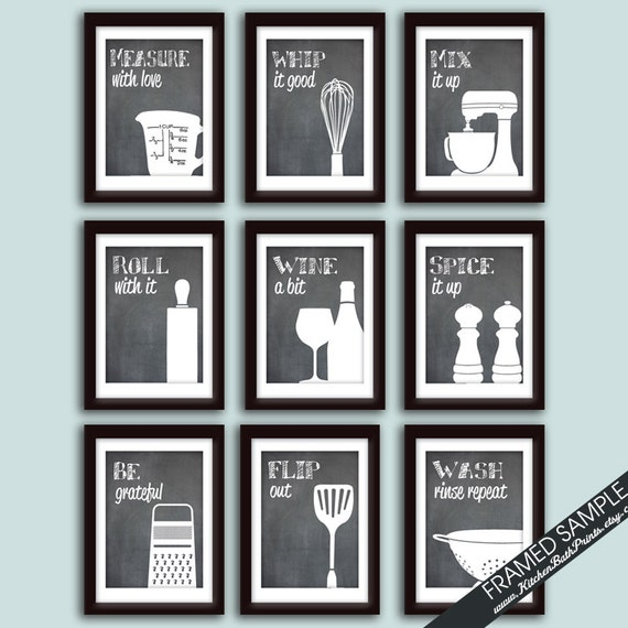 Funny Kitchen Art Print Set Set Of 9 Art Prints Featured