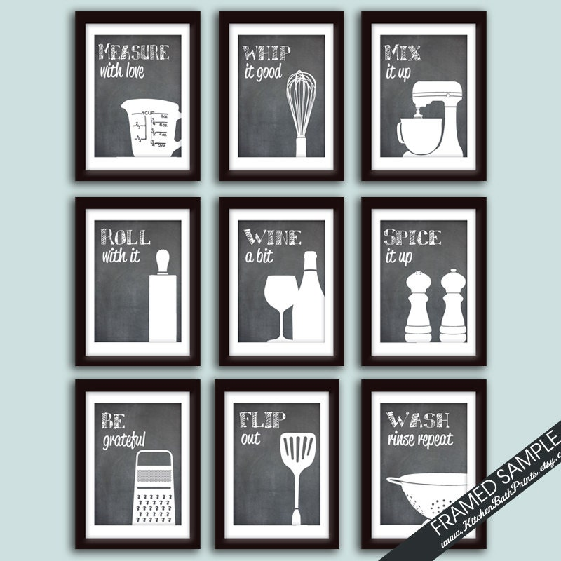 Funny kitchen art print set set of 9 art prints featured for Kitchen quotation