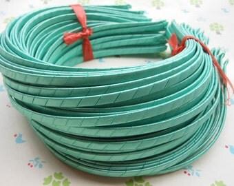 10 pcs 5mm Wide Teal Satin Headbands
