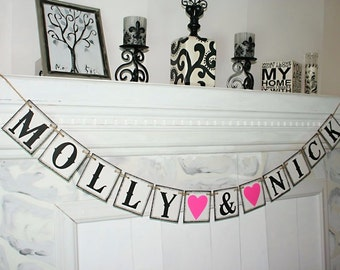 Bride and Groom Banner - Custom Names Bride to be Banner - Sve the date Banner Photo Prop Sign Wedding Sign