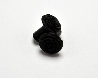 Rose Flower Ear Gauge Plugs (4g) - Arang Wood