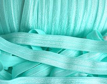 5 yards - Aquamarine - Aqua FOE - 5/8 Fold Over Elastic - Foldover Elastic - Solid FOE- Elastic by the yard - Shiny Elastic - DIY