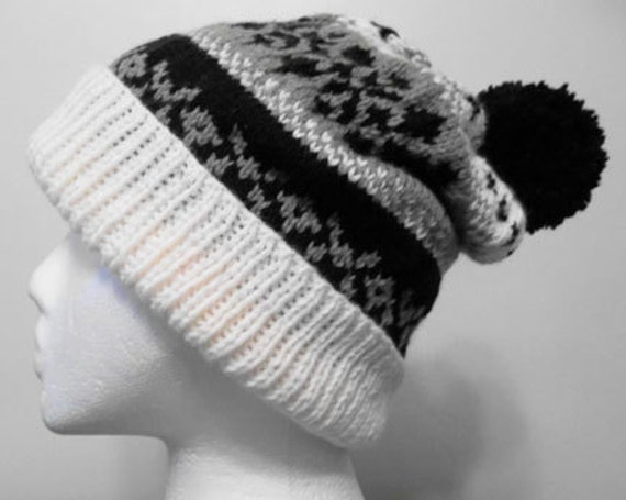 Knitting Pattern For Ski Socks : Fair Isle Bobble Ski Hat. PDF Hand Knitting Pattern