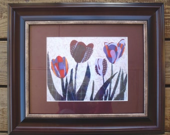 Tulip Patterns Fabric Collage Print framed