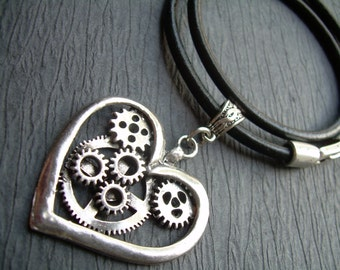 Heart Necklace Steampunk Heart Pendant Black Leather Necklace Womens Jewelry Womens Necklace Heart Pendant Steampunk Gears