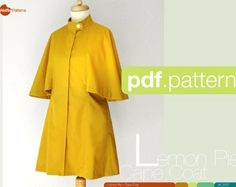 PDF sewing pattern Women Cape Coat -Lemon Pie- (size 34-48)