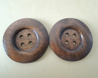 """3Pcs   Large 60mm(2 2/5"""") Brown Coffee Wood button 4  holes( W719)"""