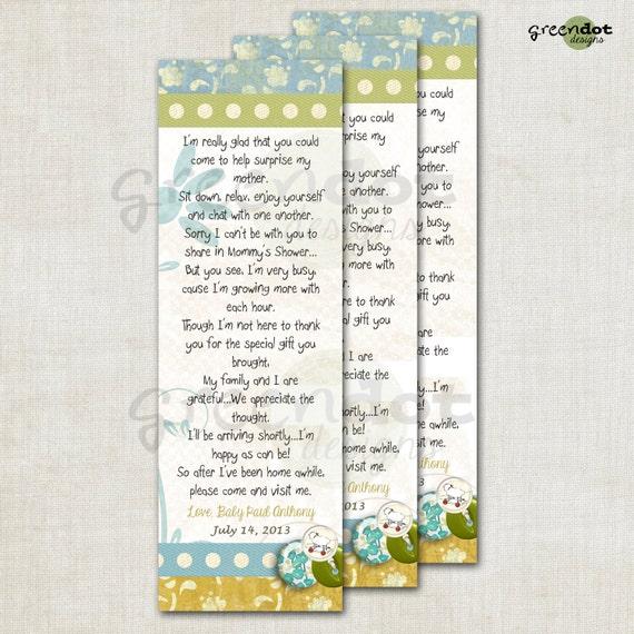 Baby Shower Book Mark Custom Baby Shower Favor By