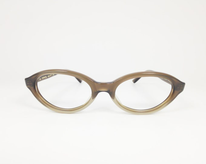 60s Vintage Cateye Eyeglasses | 1960s Safilo Clear Brown Oval Glasses | NOS Eyeglass Frame | Deadstock Eyewear