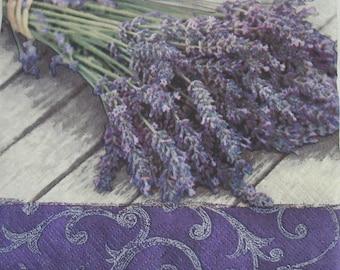 Paper napkin for decoupage, Lavender